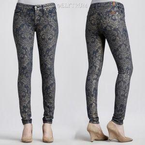 7 For All Mankind Laser Gold Brocade Skinny Jeans